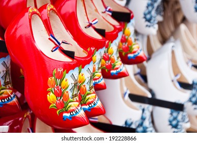 Many dutch wooden shoes