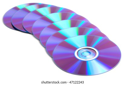 Many DVDs isolated over white background