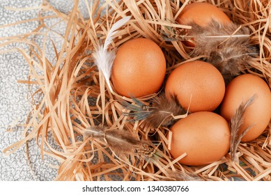 Many eggs lie on the background of hay, top view