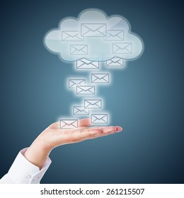 Many email icons landing in an open palm. Or rising up from the hand into a receptive cloud computing symbol. Business metaphor for online correspondence and mobile computing. Steel blue background.