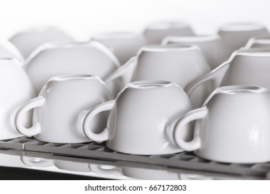 many empty cups for coffee