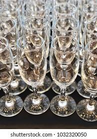 many empty wine glasses. concept wine glasses wallpaper.