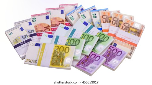 many Euro banknotes as group laying on table