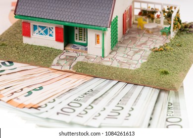many euro banknotes and home