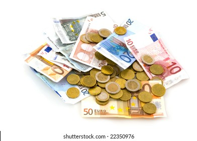 Many euros as coins and banknotes isolated