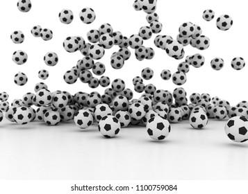 Many falling soccer balls isolated on white background 3d illustration