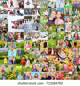 Many familes pose together, children, kids, adults. Four seasons, collage with 41 models