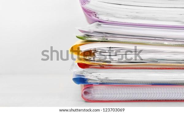 Many files on a desk