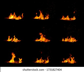 Many fire images on black background