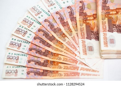 Many five thousandth notes. Russian rubles. Fan of money