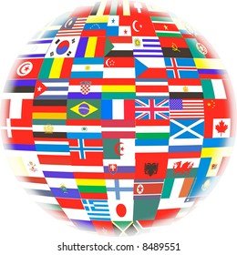 Many Flags of Countries in the World