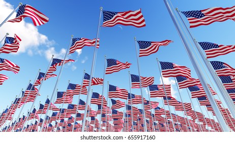 Many flags of USA on flagpoles against blue sky. Three dimensional rendering illustration. 3D.