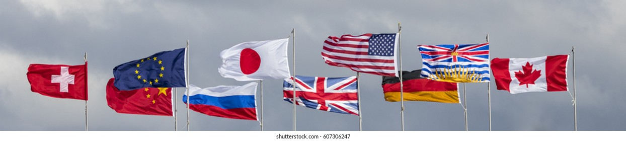 Many Flags in the wind