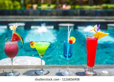 Many flavors of cocktails by the pool