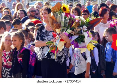 Many Flowers and Emotion for Young Students and Teachers in the First School Day - September 15, 2017 Gabrovo, Bulgaria.