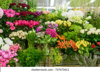 Many flowers in florist shop. Roses, lisianthus, tulips, peonies, callas and other blossoms on store's shelves.