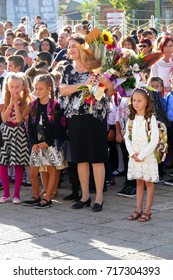Many Flowers for Teachers from Students on the First School Day - September 15, 2017 Gabrovo, Bulgaria.