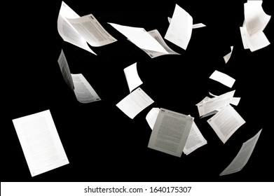 Many flying business documents isolated on black background Papers flying in air in business concept - Shutterstock ID 1640175307