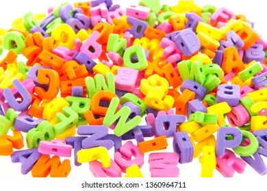 many foam letters isolated over white background
