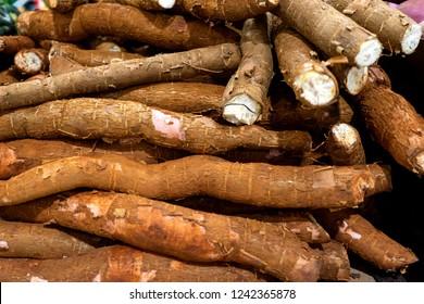 Many fresh cassava (Yuca) in the market