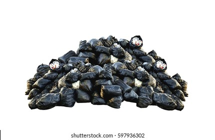 Many garbage bags isolated on white background