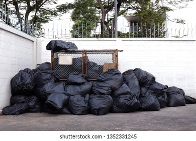 many garbage plastic bags black waste at litter area dump, garbage pile lots dump at white wall background, pollution from trash plastic waste garbage, bags bin of plastic waste, trash, 3r