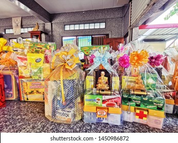 Many gift offering  dedicated to the monk at the temple Buddhism. At Temple in Rayong,Thailand on 15 Jul 2019.