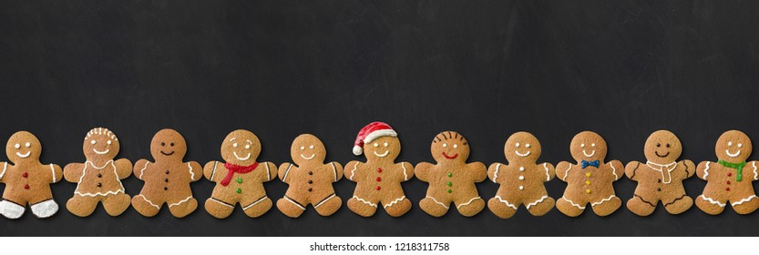 Many Gingerbread men on a blackboard