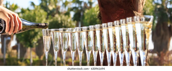 Many glasses of champagne or prosecco near resort pool in a luxury hotel. Pool party. Pouring drink into glasses. Horizontal, banner format