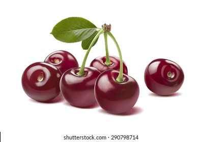 Many glossy wild cherries raw isolated on white background as package design element