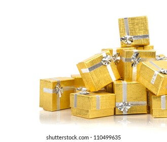 Many gold gifts in a pile