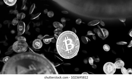 Many golden bitcoins. Cryptocurrency and virtual money concept. Golden coins with bitcoin symbol. 3D Rendering