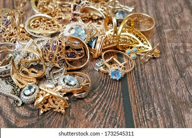 many golden and silver jewerly with copy space, pawnshop concept, jewerly shop concept