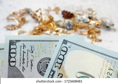 many golden and silver jewerly and money, pawnshop concept, jewerly shop concept