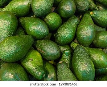 Many green avocados background