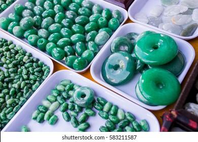 Many green jade stones