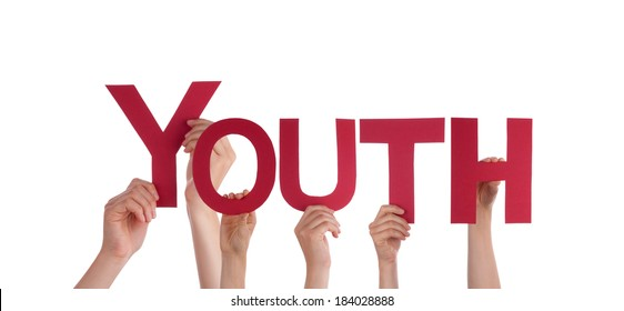 Many Hands Holding the Red Word Youth, Isolated