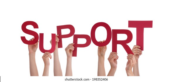 Many Hands Holding the Red Word Support, Isolated