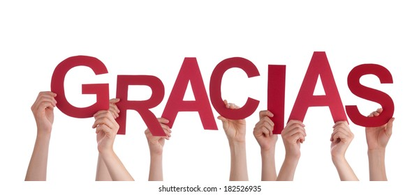 Many Hands Holding a Spanish Gracias, which means Thanks, Isolated