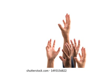 Many hands raised up against white background