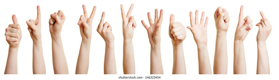 Many hands showing different gestures with the fingers
