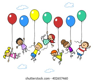 Many happy children flying up with balloons into the sky