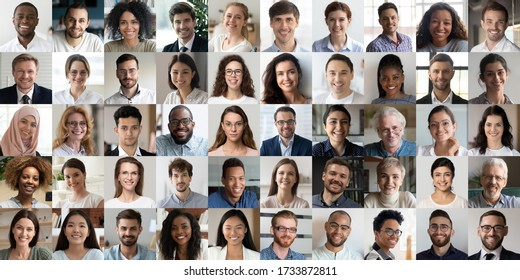 Many happy diverse ethnicity different young and old people group headshots in collage mosaic collection. Lot of smiling multicultural faces looking at camera. Human resource society database concept. - Shutterstock ID 1733872811