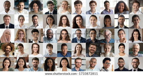 Many happy diverse ethnicity different young and old people group headshots in collage mosaic collection. Lot of smiling multicultural faces looking at camera. Human resource society database concept.
