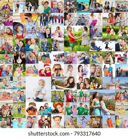 Many happy familes pose together, children, kids, adults. collage with 45 models