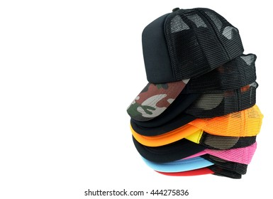 Many hats arranged , Colorful cap Hat Isolated on White Background