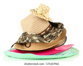 Many hats isolated on white