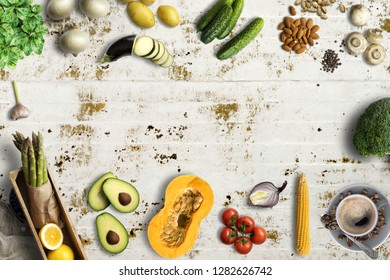 many healthy cooking ingredients on solid background