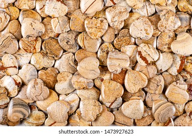 Many heart-shaped semi-precious stones of picture jasper as background