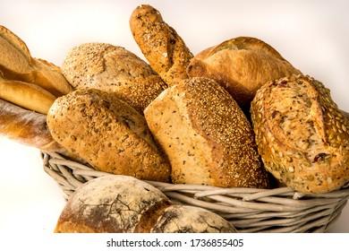 many homemade whole grain crusty breads
